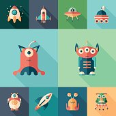 Space trip set of flat square icons with long shadows.