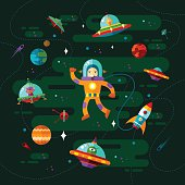 Space, ufo and astronaut.