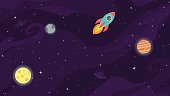 Space vector background with rocket, planets and satelite.