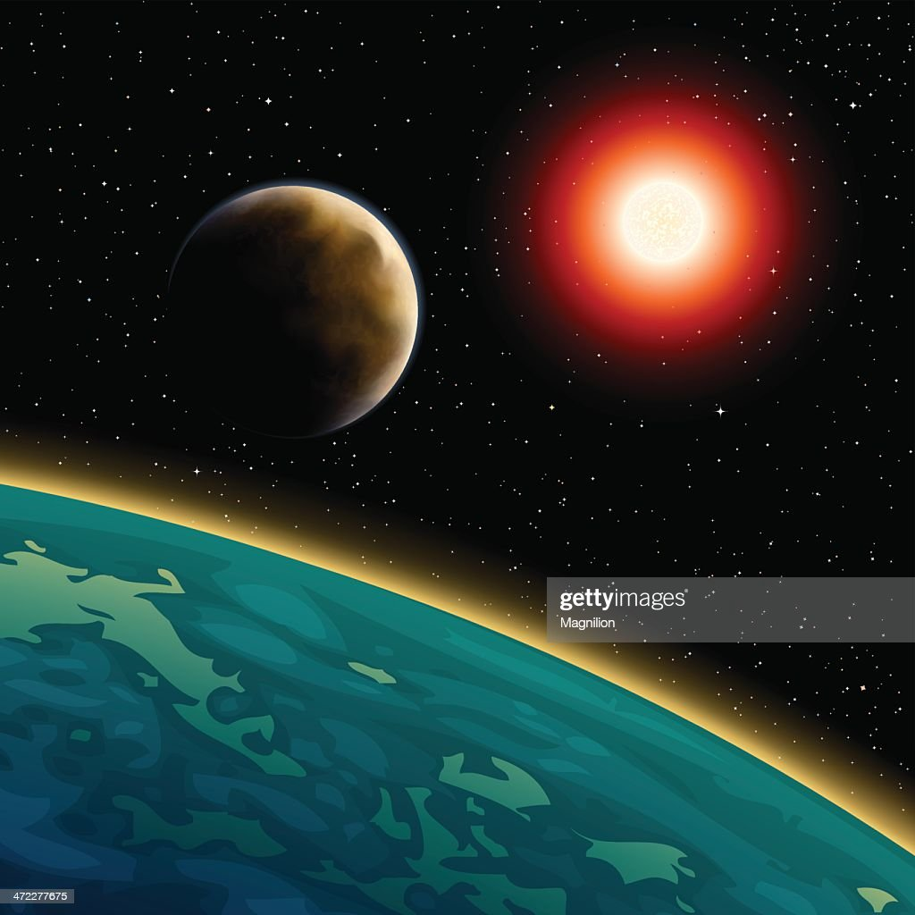 Space view of the sun, moon, and the earth : stock illustration