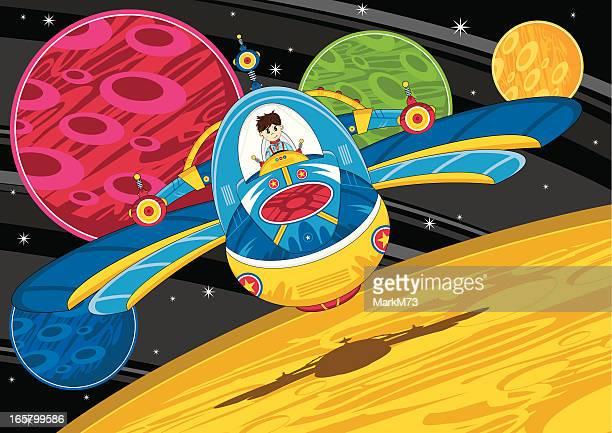 Spaceman & Space Rocket Scene