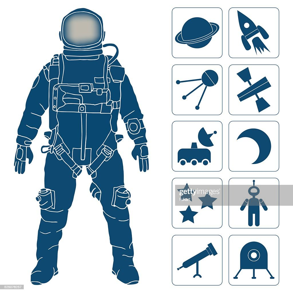 Spaceman, space science and research icons set