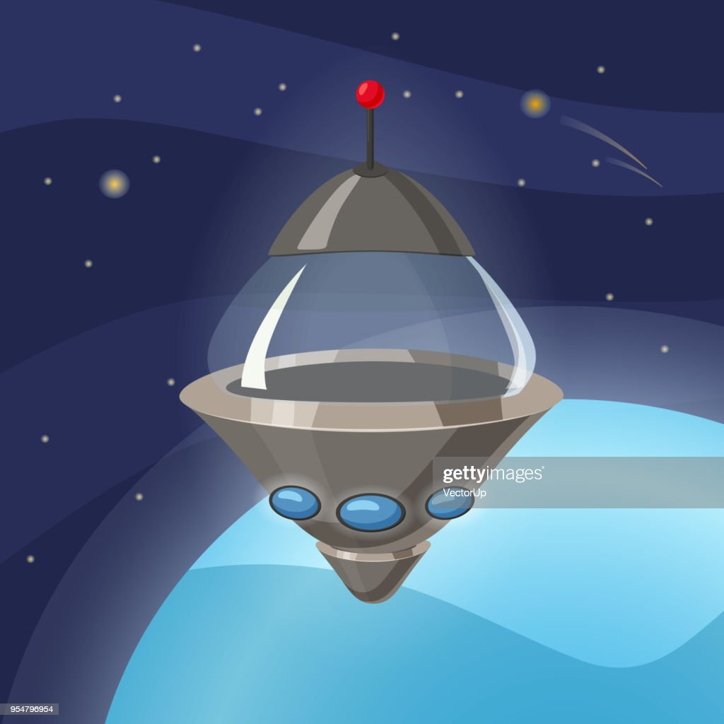 UFO spaceship, cartoon style, background space planet, isolated, vector, illustration
