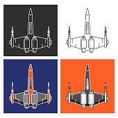 Spaceship fighter battle.The military army jet plane future armed with laser guns.flat linear style a vector.