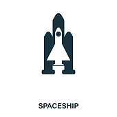 Spaceship icon. Flat style icon design. UI. Illustration of spaceship icon. Pictogram isolated on white. Ready to use in web design, apps, software, print.