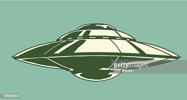 Spaceship illustration on teal background