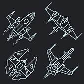 Spaceship outline, linear flying rocket vector