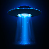 UFO spaceship. Unidentified flying object with light beam. Vector illustration