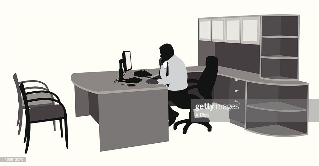 Spacious Office Vector Silhouette : stock illustration