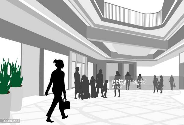 spacious shopping mall outlets - updo stock illustrations, clip art, cartoons, & icons