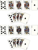 Spade and Club Suit Royal Flush playing cards