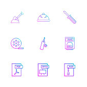 Spade , halmet , screw driver , movie roller,  cricket , bat , ball , dmg apple file , rar , compressed file ,pdf , photoshop , pptx , excel , 9 eps icons set vector