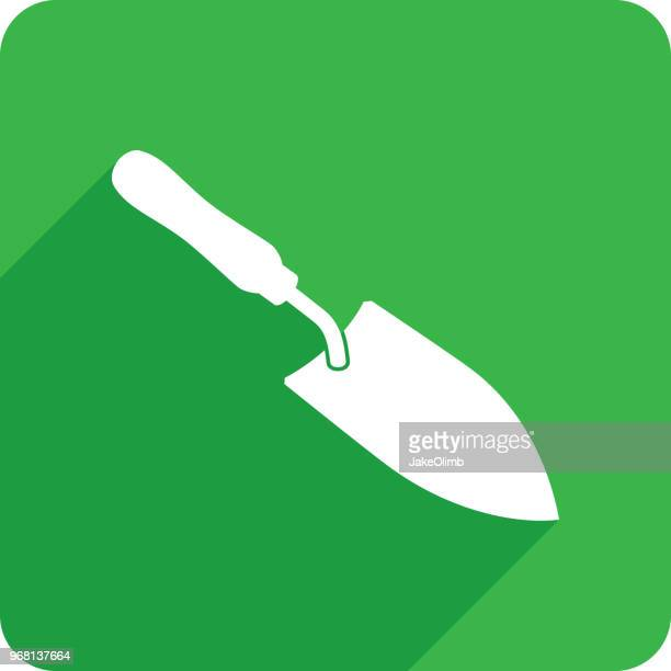 spade icon silhouette - trowel stock illustrations, clip art, cartoons, & icons