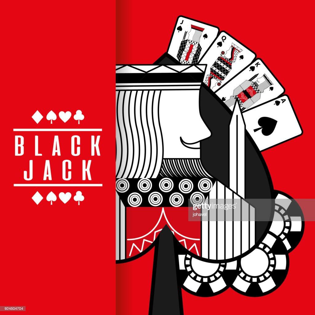 spade king black jack cards gamble chips red background