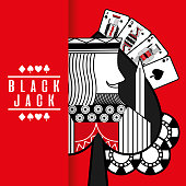 spade king black jack cards gamble chips red background