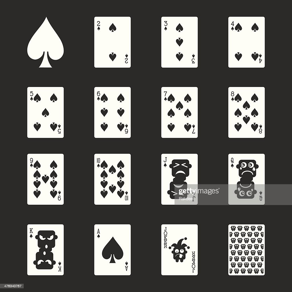 Spade Suit Playing Card Icons - White Series | EPS10