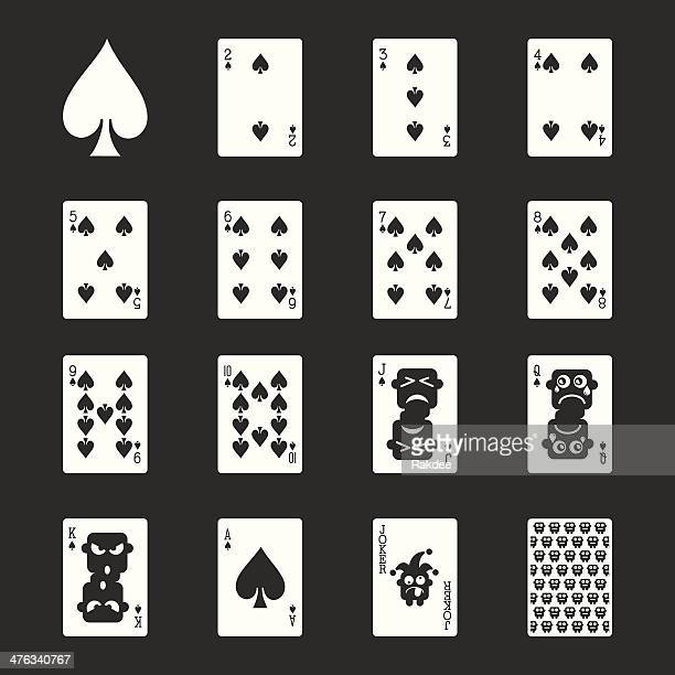 spade suit playing card icons - white series | eps10 - ace stock illustrations, clip art, cartoons, & icons