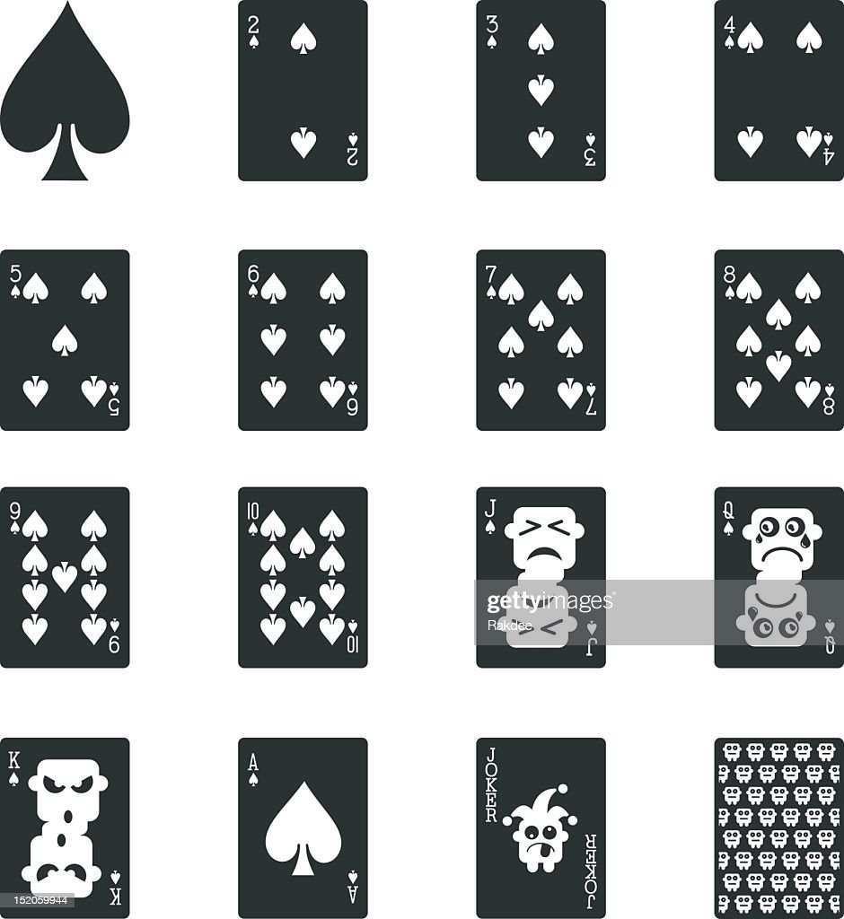 Spade Suit Playing Card Silhouette Icons