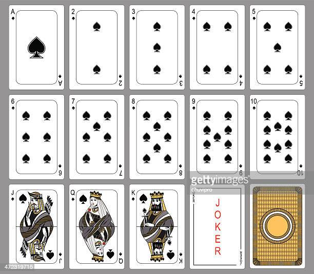 spade suit playing cards - joker card stock illustrations, clip art, cartoons, & icons