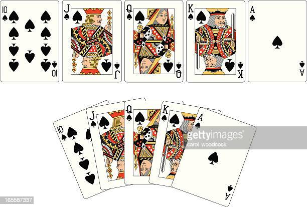spade suit two royal flush playing cards - ace stock illustrations, clip art, cartoons, & icons