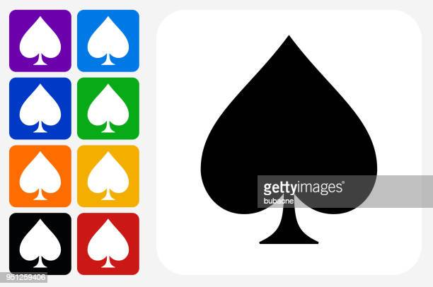 Spades Icon Square Button Set