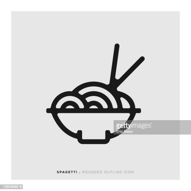 spagetti rounded line icon - macaroni stock illustrations, clip art, cartoons, & icons