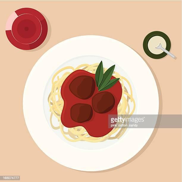 スパゲティ、ミートボール