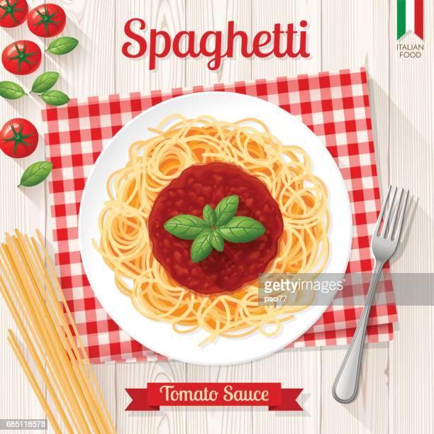 spaghetti and tomato sauce, italian pasta - basil stock illustrations, clip art, cartoons, & icons