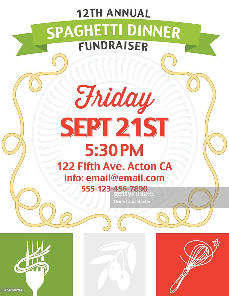 spaghetti dinner fundraiser invitation vertical template on white