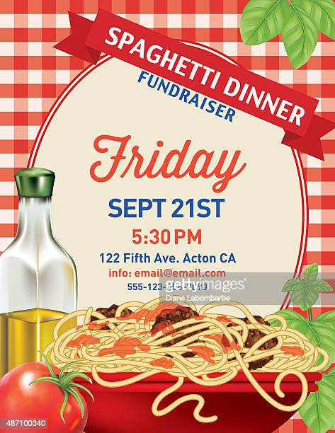 spaghetti dinner vertical invite poster template on red plaid tablecloh - tablecloth stock illustrations, clip art, cartoons, & icons
