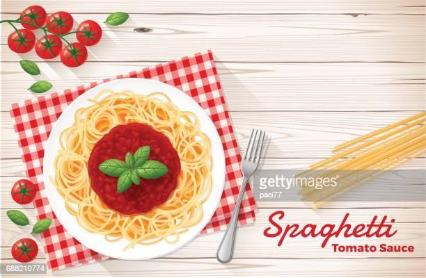 spaghetti with tomato sauce and basil - basil stock illustrations, clip art, cartoons, & icons