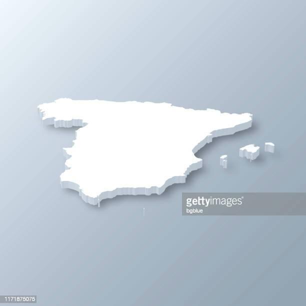 ilustrações de stock, clip art, desenhos animados e ícones de spain 3d map on gray background - espanha
