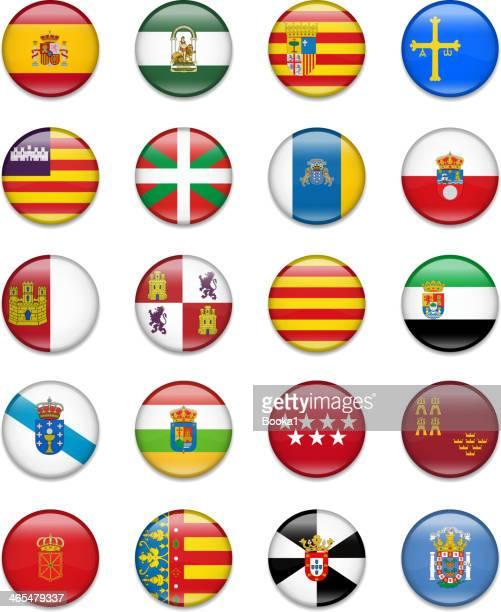 スペイン自治地域のボタンフラグコレクション - アラゴン点のイラスト素材/クリップアート素材/マンガ素材/アイコン素材