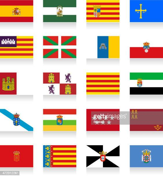 spain autonomous communities flag collection - catalonia stock illustrations