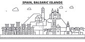 Spain, Balearis Islands architecture line skyline illustration. Linear vector cityscape with famous landmarks, city sights, design icons. Landscape wtih editable strokes