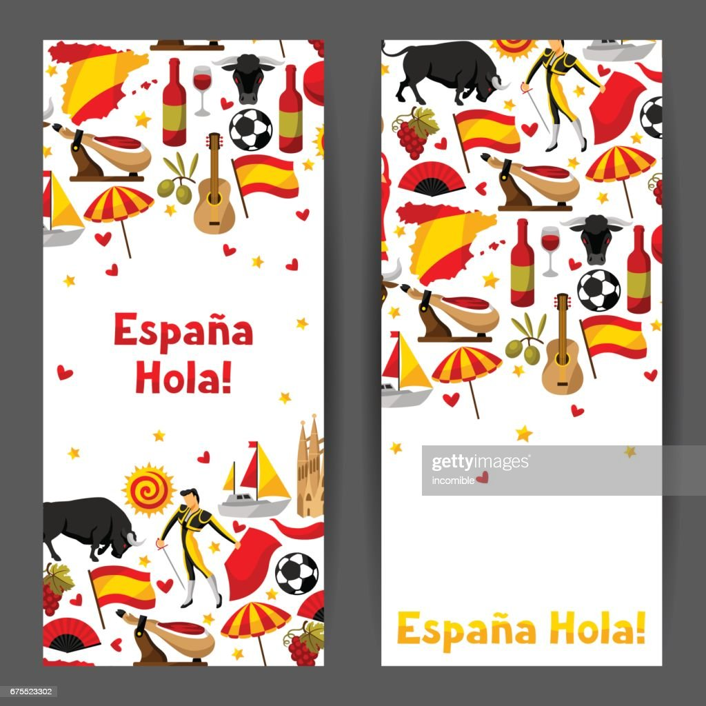 Spain banners design. Spanish traditional symbols and objects