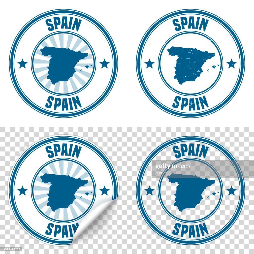 Spain Blue Sticker And Stamp With Name Map Vector Art