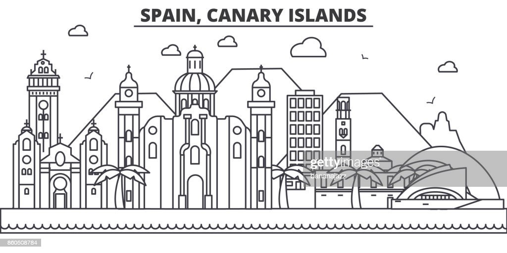 Spain, Canary Islands architecture line skyline illustration. Linear vector cityscape with famous landmarks, city sights, design icons. Landscape wtih editable strokes