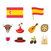 Spain cartoon icons set