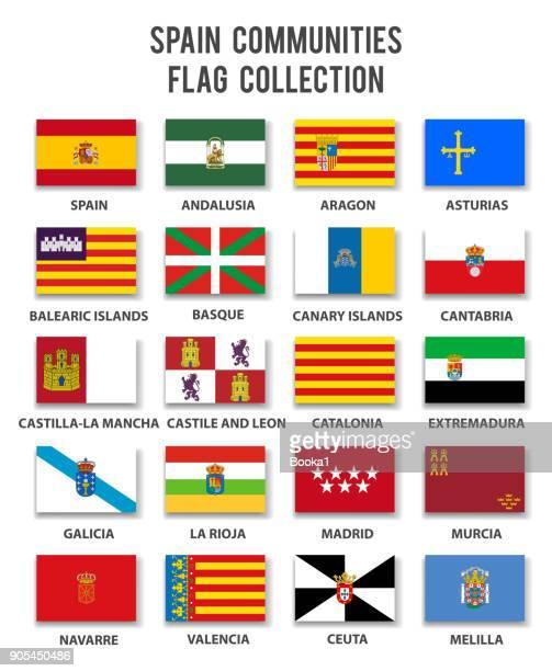 スペインのコミュニティのコレクション - 完全なフラグします。 - アラゴン点のイラスト素材/クリップアート素材/マンガ素材/アイコン素材