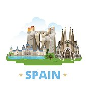 Spain country flat cartoon style historic sight showplace web vector illustration. World travel Europe collection. Ronda Bridge El Escorial Monastery Sagrada Familia Gaudi Basilica Temple Holy Family.