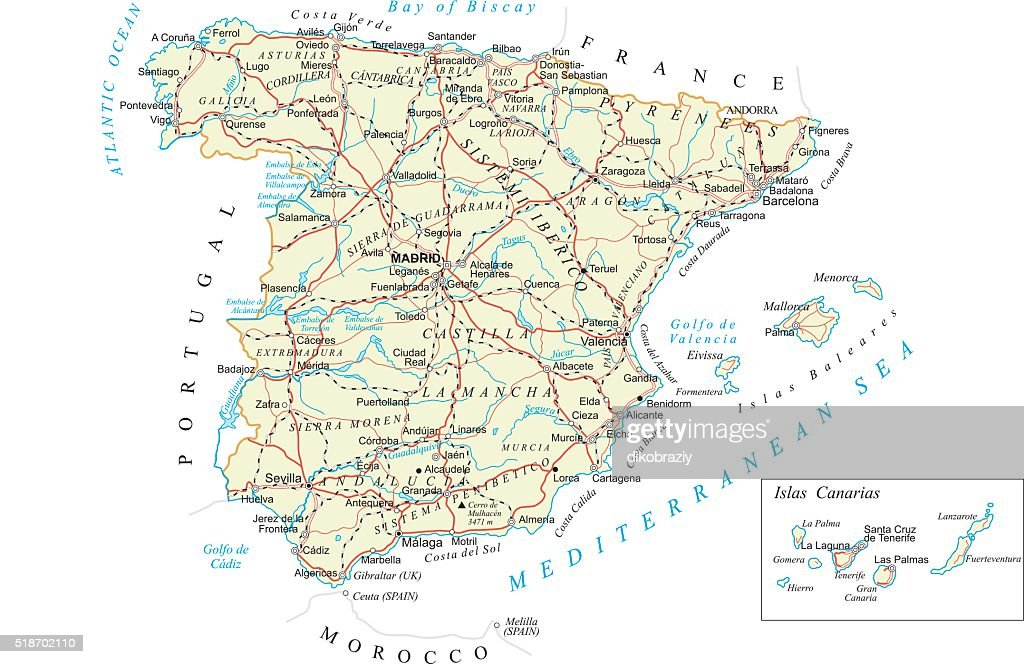 Spain - detailed map - illustration