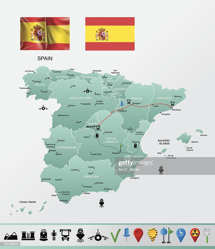 Detailed Map Of Spain.Spain Detailed Map With Navigation Icons Stock Illustration Getty