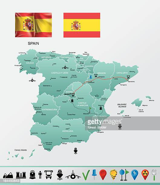 spain detailed map, with navigation icons - oviedo stock illustrations, clip art, cartoons, & icons