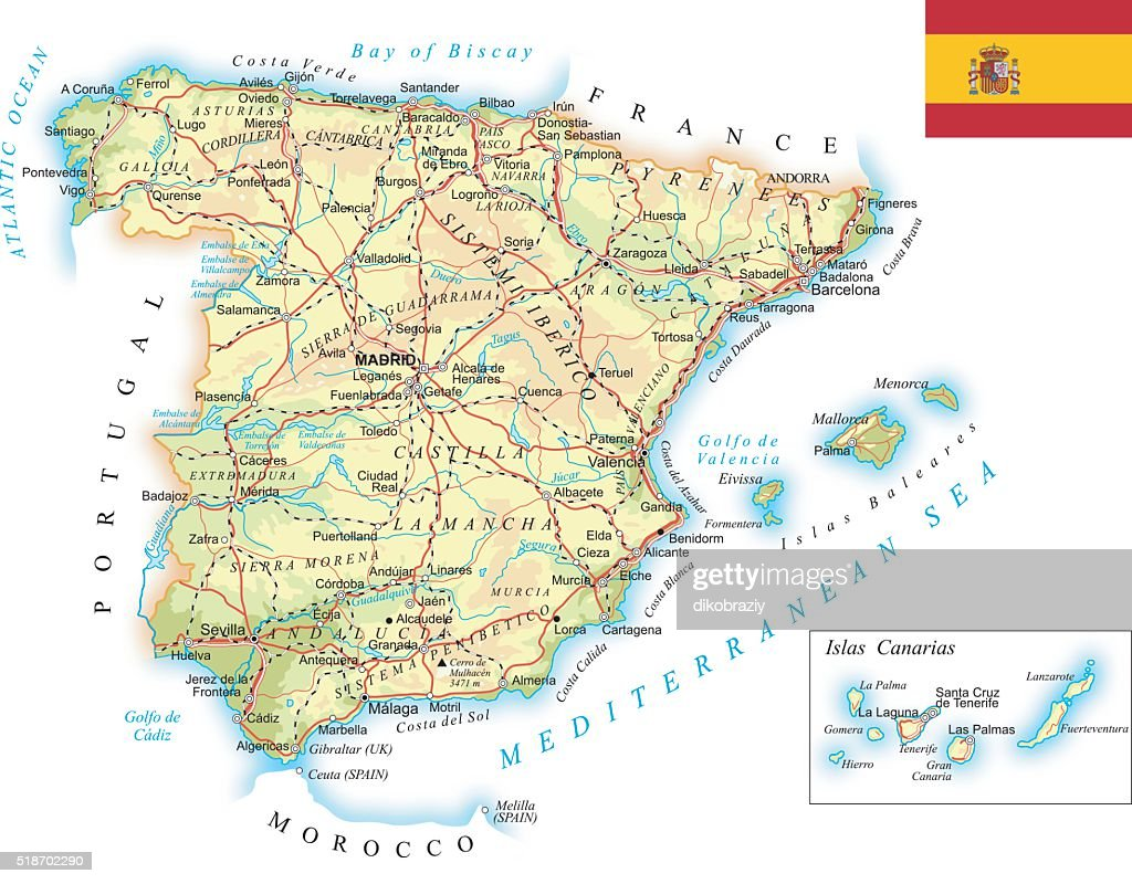Spain - detailed topographic map - illustration