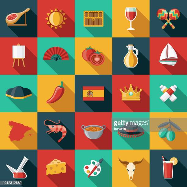 Spain Flat Design Icon Set