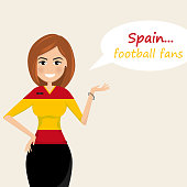 Spain football fans.Cheerful soccer fans, sports images.Young woman,Pretty girl sign.Happy fans are cheering for their team.Vector illustration