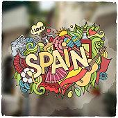 Spain hand lettering and doodles elements emblem