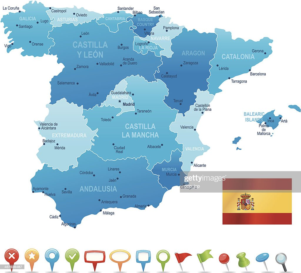 Spain - highly detailed map