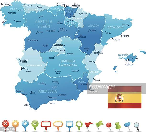spain - highly detailed map - en búsqueda stock illustrations